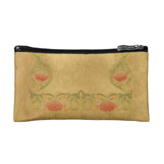 Orange flower on ochre makeup bag