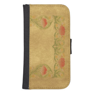 Orange Flower on ochre Samsung S4 Wallet Case