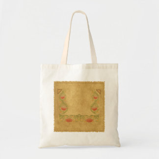 Orange flower on ochre tote bag