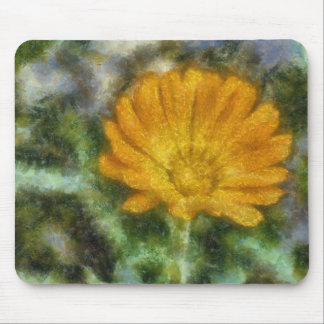 Orange flower painting mouse pad