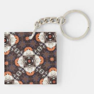Orange Flower Pattern Acrylic Keychains