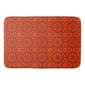 Orange Flower Pattern Bath Mat