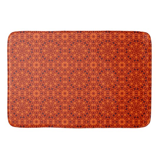 Orange Flower Pattern Bath Mats