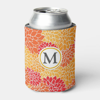Orange Flower Pattern Can Cooler