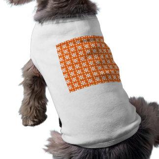 Orange flower pattern pet tee shirt
