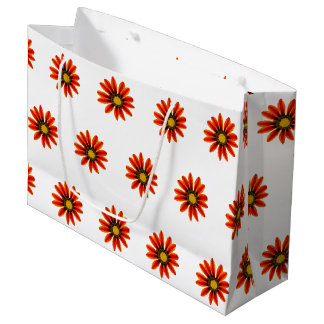 Orange Flower Pattern Large Gift Bag