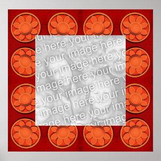 orange flower pattern photo frame poster
