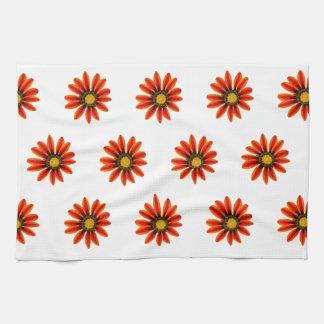 Orange Flower Pattern Tea Towel