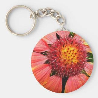 Orange Flower Power Basic Round Button Key Ring
