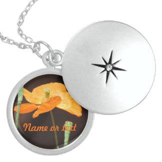 Orange Flower Round Locket Necklace