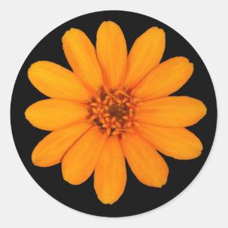 Orange Flower Round Sticker