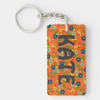 Orange Flower Single-Sided Rectangular Acrylic Key Ring