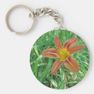 Orange Flower Skins, Pins, and Magnets Basic Round Button Key Ring