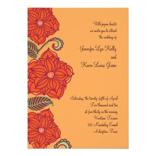 Orange Flower Wedding Invitations