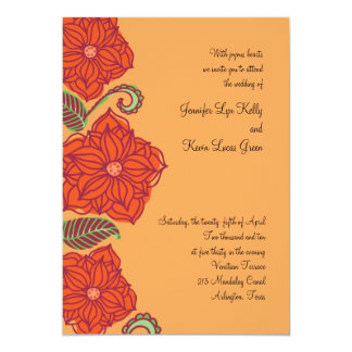 Orange Flower Wedding Invitations