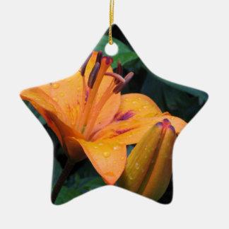 Orange flower with raindrops christmas ornament