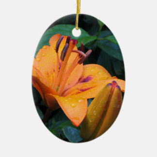 Orange flower with raindrops christmas ornament