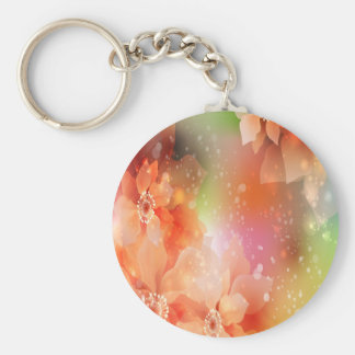 Orange Flowers Basic Round Button Key Ring