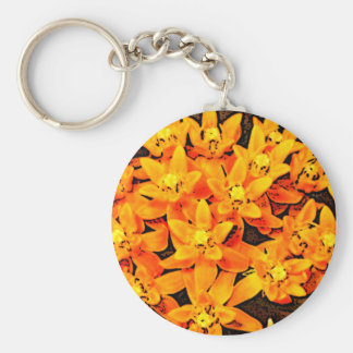 Orange Flowers Basic Round Button Key Ring