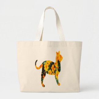 Orange Flowers Cat Canvas Bags