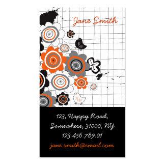 Orange Flowers Chicks Grunge Ink Blots Doodles Kid Business Card Template