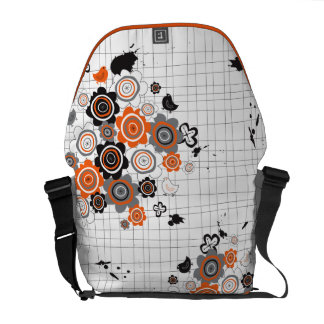 Orange Flowers Chicks Grunge Ink Blots Doodles Kid Courier Bags