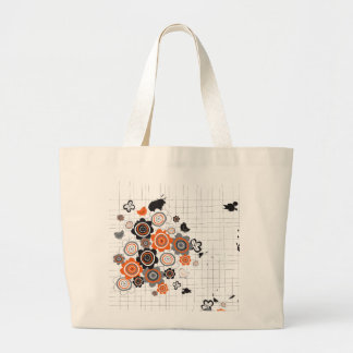Orange Flowers Chicks Grunge Ink Blots Doodles Kid Large Tote Bag