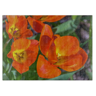 Orange flowers glass cutting board