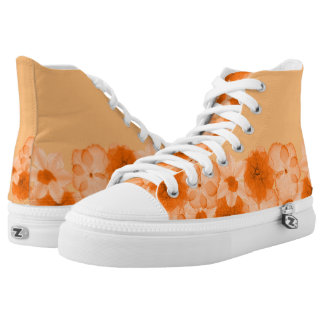 Orange Flowers High Tops