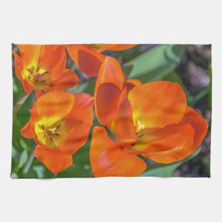 Orange flowers kitchen towel