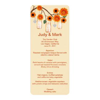 Orange Flowers Mason Jars Menu Card 10 Cm X 24 Cm Invitation Card