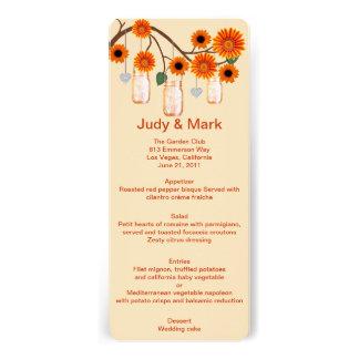Orange Flowers Mason Jars Menu Card