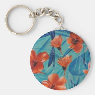 Orange Flowers on Blue Basic Round Button Key Ring