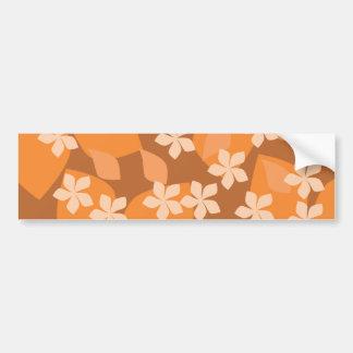 Orange Flowers. Retro Floral Pattern. Bumper Sticker