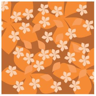 Orange Flowers Retro Floral Pattern Cut Out