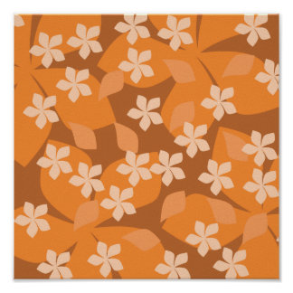 Orange Flowers. Retro Floral Pattern. Poster