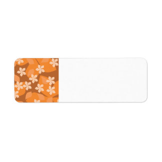 Orange Flowers. Retro Floral Pattern. Return Address Label