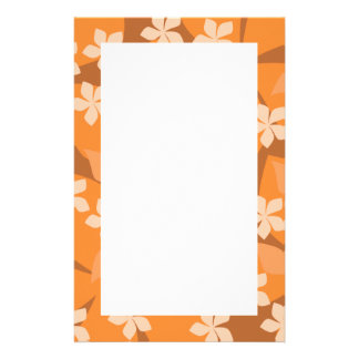 Orange Flowers. Retro Floral Pattern. Stationery