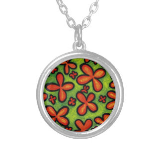 Orange Flowers Whimsical Charm Necklace