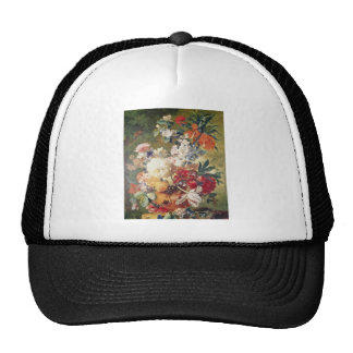 Orange Flowers with Butterfly, Flemish flowers Mesh Hats