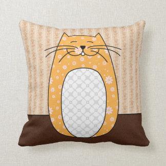 Orange Folk Cat Pillow