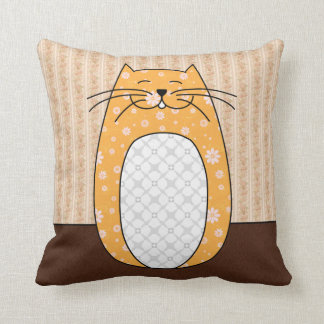 'Orange Folk Cat' Pillow Throw Cushions