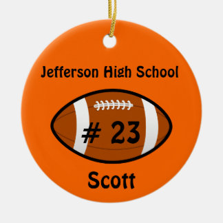 Orange Football number Ornament