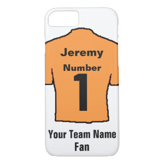 Orange Football Shirt. Customise the name and team iPhone 8/7 Case