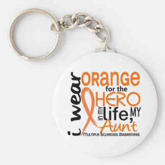Orange For Hero 2 Aunt MS Multiple Sclerosis Basic Round Button Key Ring