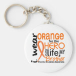 Orange For Hero 2 Brother MS Multiple Sclerosis Key Chains