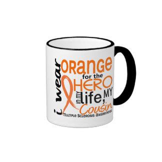 Orange For Hero 2 Cousin MS Multiple Sclerosis Ringer Mug