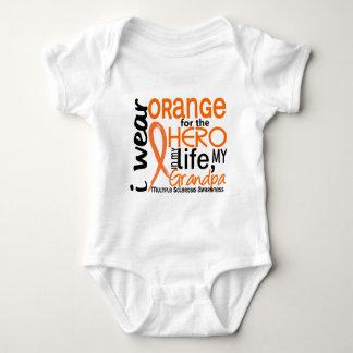 Orange For Hero 2 Grandpa MS Multiple Sclerosis Baby Bodysuit