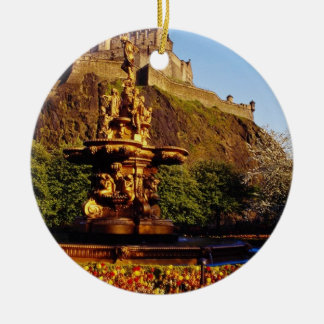 Orange Fountain and tulips, Edinburgh Castle, Scot Christmas Ornament