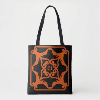 Orange Four Hearts Flower Bordered Pattern Tote Bag
